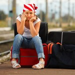 Young girl in train station