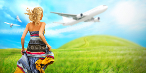 Woman running across field with idyllic landscape. Airplane and birds are flying in the sky