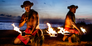 Two Hawaiian Men ready to Dance with Fire
