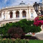 Facade of opera house in Odessa, Ukraine