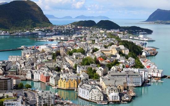 Город Олесунн в Норвегии