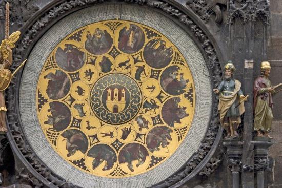 Пражские куранты, циферблат со знаками зодиака