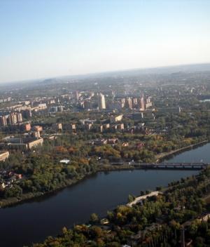 Нижнекальмиусское водохранилище, вид сверху